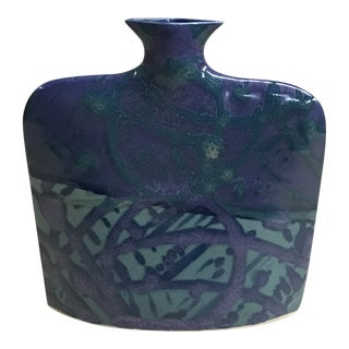 Blue-Green Abstract Ceramic Vase For Sale