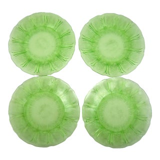 Floral Green Glass Luncheon Plates - Set of 4 For Sale