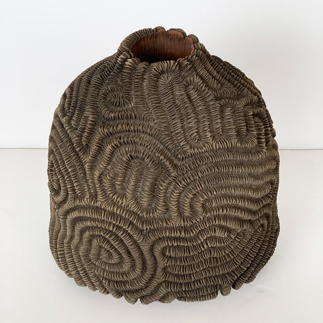 Contemporary Textured Studio Pottery Terracotta Vase For Sale - Image 3 of 13