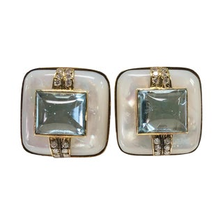 Large 14k Clip on Mother of Pearl Blue Topaz Diamond Earrings For Sale