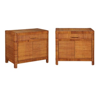 Beautiful Restored Pair of Vintage Cane Cabinets by Bielecky Brothers For Sale