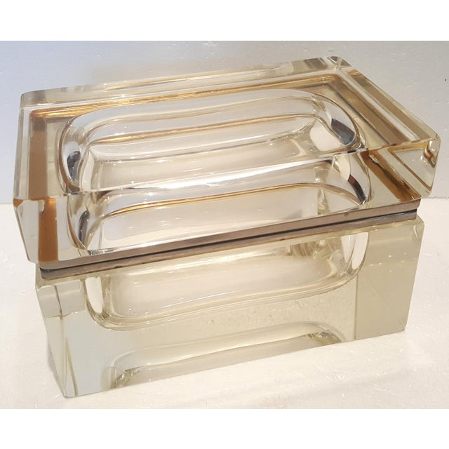 Vintage Heavy Rectangular Crystal Box For Sale In Los Angeles - Image 6 of 6