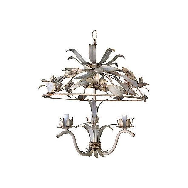 Lovely 1950s Italian garden pavilion chandelier featuring a spectacular domed canopy covered in blooms with natural patina...