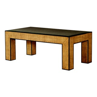 Century Furniture Newport Rectangular Coffee Table, Sand and Light Brown For Sale