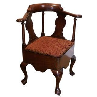 Late 18th Century George III Mahogany Corner Chair For Sale