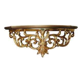 Syroco Hollywood Regency Gold Sculpted Shelf For Sale
