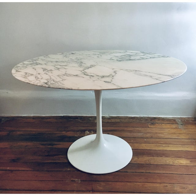 """Authentic 48"""" marble Tulip dining table designed by Eero Saarinen for Knoll. Italian Carrara marble top, in excellent..."""