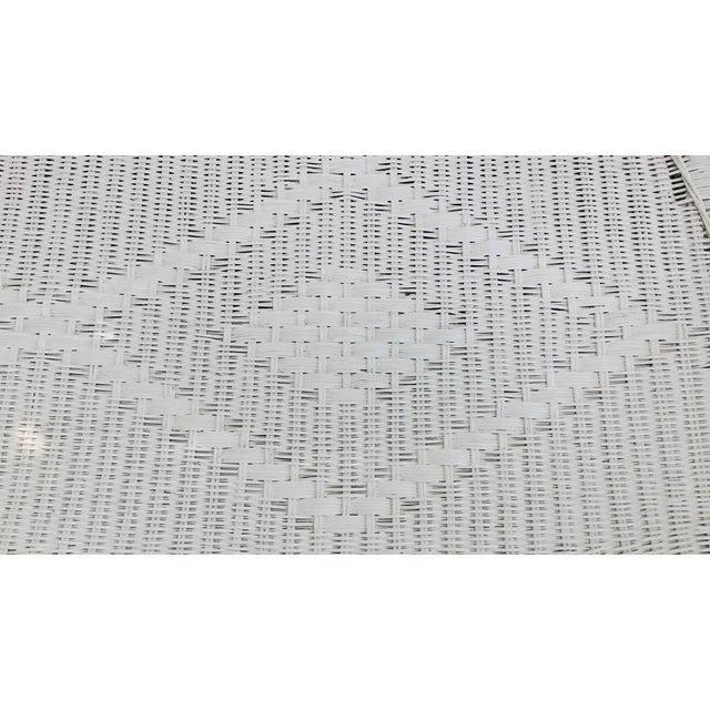 White White Wicker Settee For Sale - Image 8 of 9