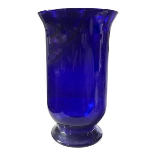 Large, Vintage Cobalt Blue Glass Vase For Sale