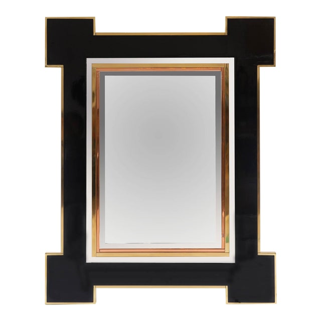 1975 Alain Delon for Maison Jansen Lacquer and Brass Wall Mirror For Sale