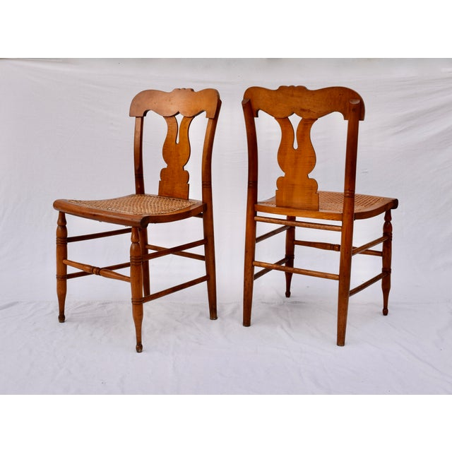Antique Caned Federal Dining Chairs, Set of Eight For Sale - Image 4 of 10