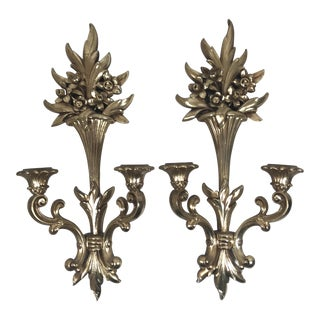 Vintage Syroco Gilt Candle Wall Sconces - a Pair For Sale