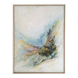"Vintage Signed Original Mid-Century Modern "" Tucson Landscape "" Abstract Expressionist Framed Oil Painting"