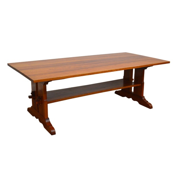 Arts & Crafts Style Custom Quality Cherry Trestle Dining Table For Sale - Image 13 of 13