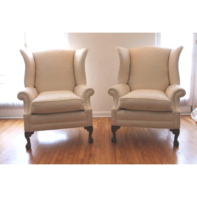 Pair of Monumental Damask Wing Chairs - Image 2 of 6