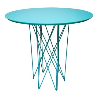 Caroline Outdoor Cafe or Entry Table, Mid-Century Inspired with Turquoise Matte Lacquered Top and Stainless Steel Turquoise powder coated base For Sale