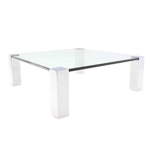 Chrome Large Square Mid-Century Modern Coffee Table For Sale - Image 7 of 7