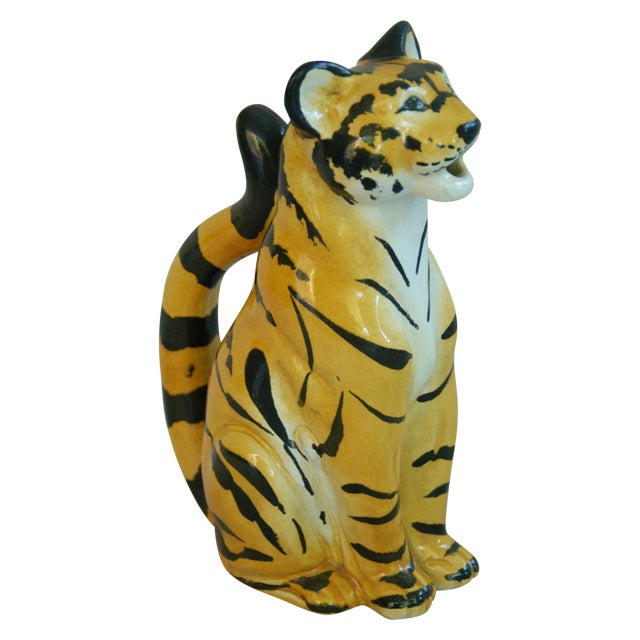Italian Hollywood Regency Tiger Pitcher For Sale