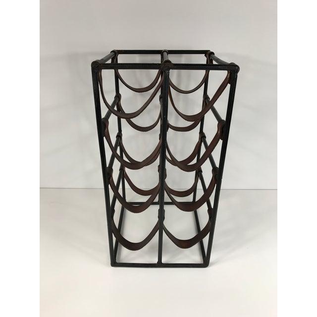 Arthur Umanoff Wrought Iron & Leather Wine Rack - Image 3 of 5