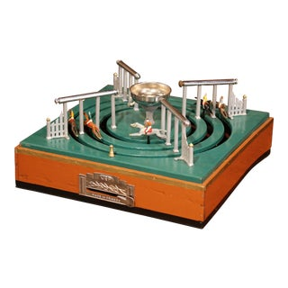 Early 20th Century French Mechanical Horse Racing Game With Top Case For Sale
