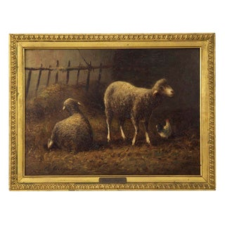 19th Century Antique French Painting of Sheep by Charles Jacque For Sale