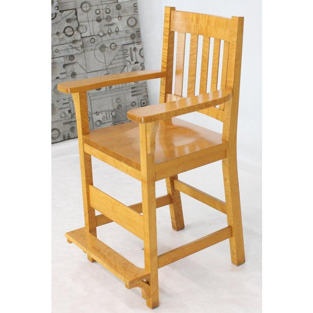 Modern Solid Brid's-Eye Maple High Pool Chairs Bar Stools- A Pair For Sale - Image 6 of 13