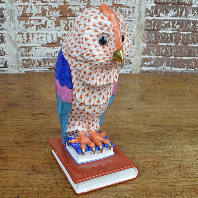 Herend Porcelain Owl on Books, Facing Right For Sale - Image 6 of 11