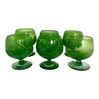 Vintage Bright Green Blown Art Glass Goblets - Set of 6 For Sale