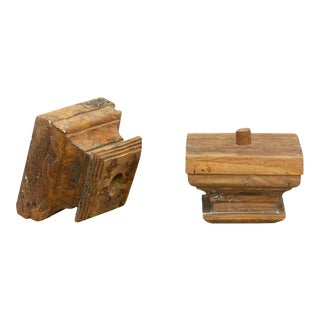 Set of Two Teak British Colonial Column Capitals For Sale
