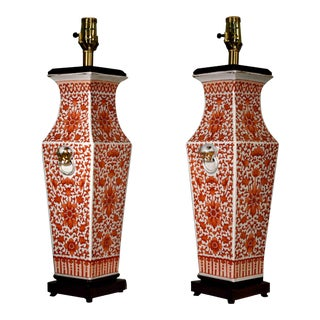 Vinitage Chinoiserie Porcelain and Rosewood Table Lamps - a Pair For Sale