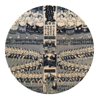 1920s Japanese Arita Plate With Sumo Wrestlers For Sale