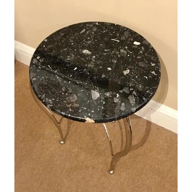 Curvacious modern Global Views Diminutive Side Table, chrome base with a black marble top, showroom floor sample, original...