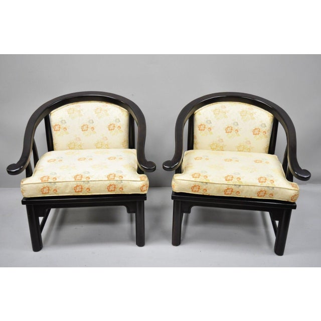 Pair of James Mont Style Horseshoe Ming Style Armchairs by Century Chair Co. (A). Item features solid wood construction,...