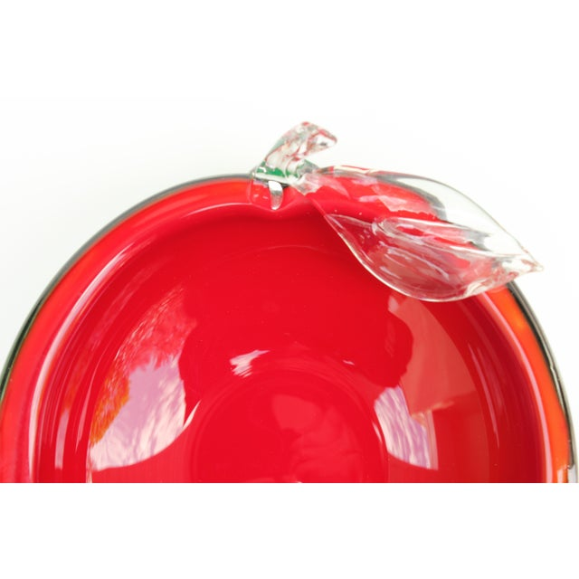Red and Green Apple Murano Bowl - Image 2 of 5
