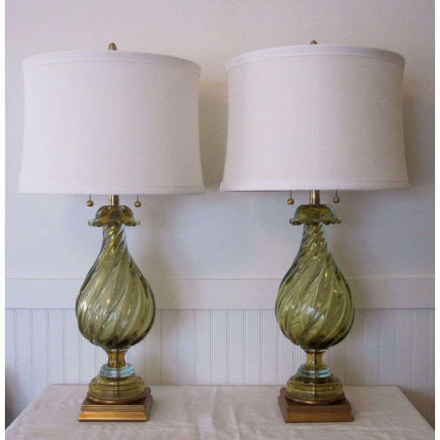 A pair of vintage Mid Century table lamps by Seguso for Marbro Lighting circa 1950. Marbro Company created the finest...