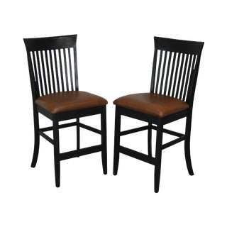 F & N Woodworking Pair Black Bar Stools With Brown Leather Seats For Sale