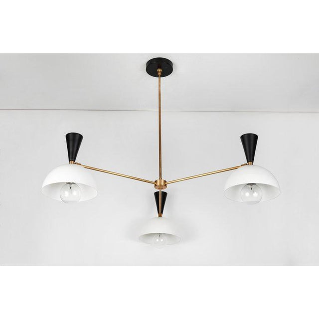 2010s Large Three-Cone 'Lola Ii' Black and White Chandelier For Sale - Image 5 of 13