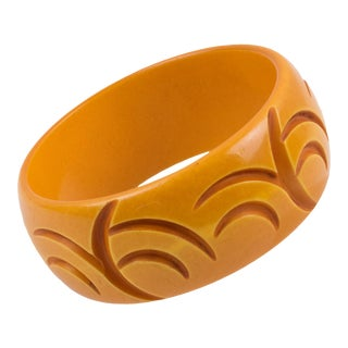 Bakelite Bracelet Bangle Deep Crescent Carved Butterscotch Color For Sale