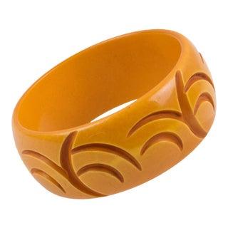 Bakelite Crescent Carved Bracelet Bangle Butterscotch For Sale