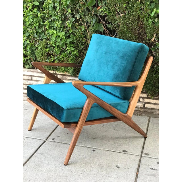 Mid Century Z Chair in Peacock Jade For Sale - Image 13 of 13