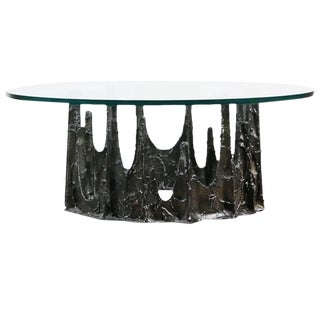 Paul Evans Brutalist Sculpted Bronze Stalagmite Table, Signed and Dated 1970 For Sale