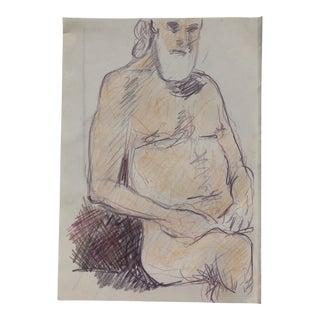 Older Male Model Drawing by James Bone 1990s For Sale