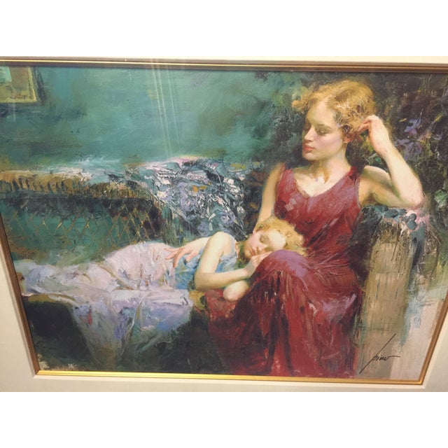 Mediterranean Pino Daeni Lithograph Mother & Child Signed For Sale - Image 3 of 5
