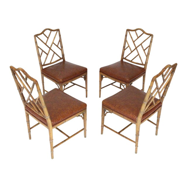 Set of Four Carved Faux Bamboo Dining Chairs For Sale