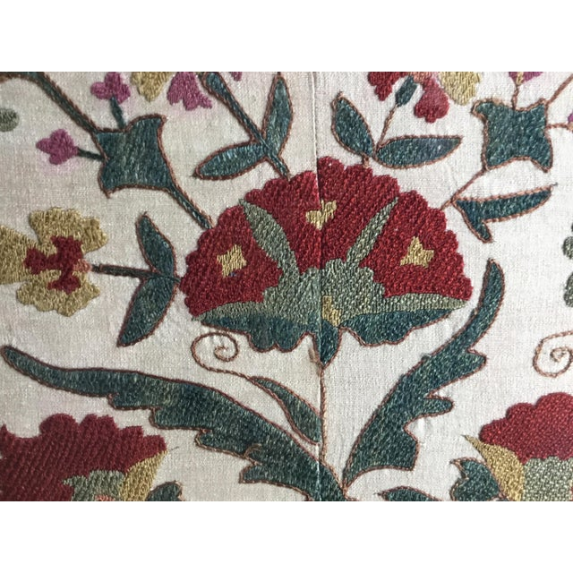Hand Embroidery Silk Suzani Textile, Framed For Sale - Image 9 of 13
