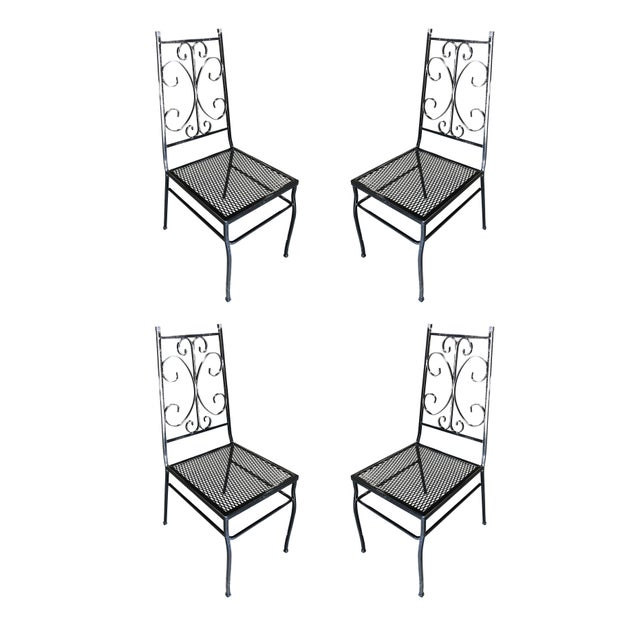 Mid Century Outdoor/Patio Side Chair With Scrolling Pattern - Set of 4 For Sale - Image 9 of 9