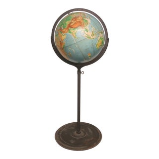 1950s Vintage Denoyer Geppert World Globe on Adjustable Iron Stand For Sale