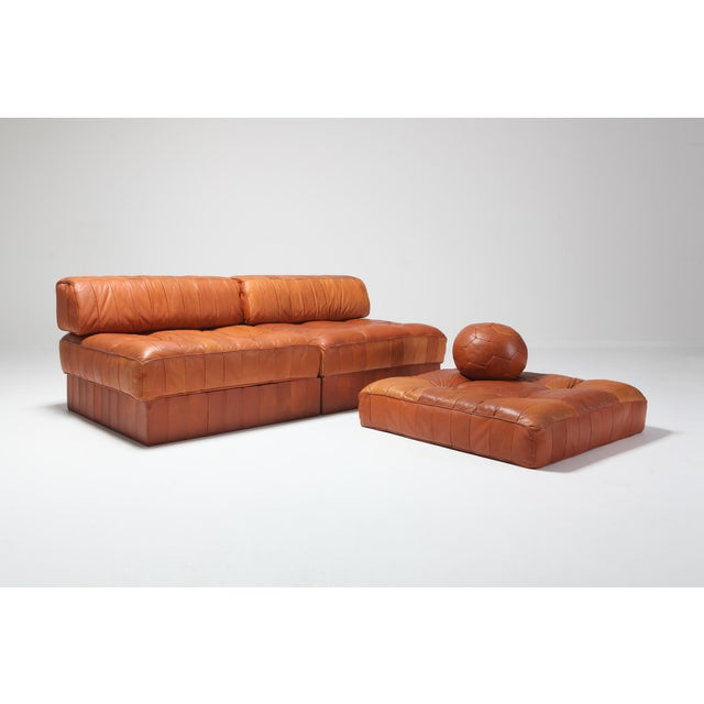 Mid-Century Modern Cognac Leather Patchwork Ds 88 De Sede Sectional Sofa For Sale - Image 3 of 11