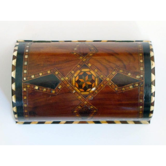 A Well-Crafted and Richly-Patinated Syrian Inlaid Trinket Box With Domed Lid For Sale - Image 4 of 7