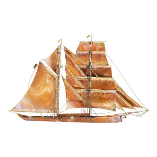 Ship Wall Sculpture by Curtis Jere For Sale